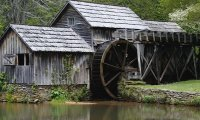 Old water mill in the river