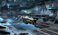 Busy space hangar with ships and comm chatter