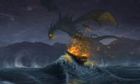 A Dragon attacks a ship at the sea