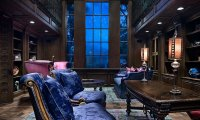 The blue common room, rainy
