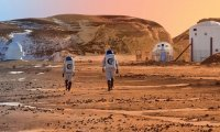A mission of astronaut set their foot on the red planet