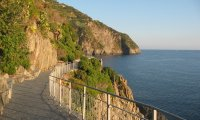 Boardwalk on Italian cliff