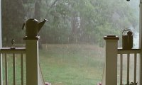 Rain from the interior of a home