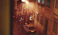 Rainy night in apartment next to the subway