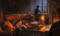 Studying in Gryffindor Common Room.