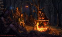 you're sitting in a quiet camp of firbolgs/forest people of your choice :)