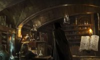 Studying in the Potions classroom
